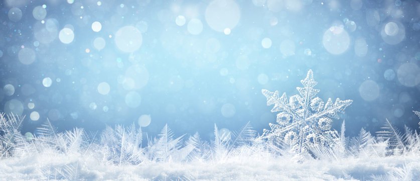 Snowflake On Natural Snowdrift Close Up - Christmas And Winter Background