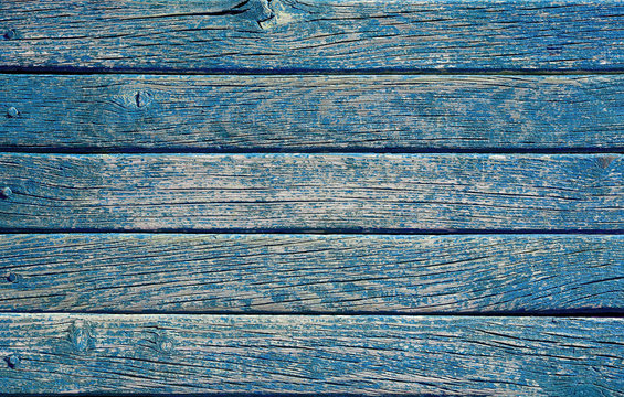 Blue bright colored grungy, weathered vintage wood background