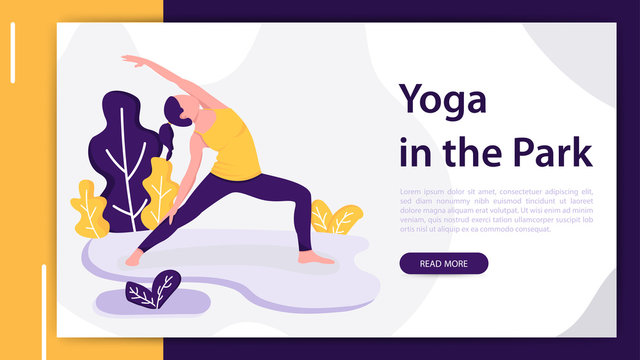 Woman practicing yoga outdoors in park. Modern flat design concept of web page design for website and mobile website development. Vector illustration