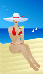 Pretty woman in a wide luxurious hat and red bikini. Beautiful female enjoys in tropical resort sitting on the beach with sea view and drinking cocktail. Flat vector art. Vacation travel poster.