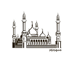 black illustration of islamic mosque building isolated on white background