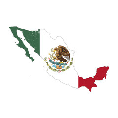 Mexico country silhouette with flag on background, isolated on white