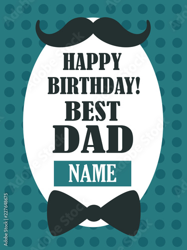 Happy Birthday Best Dad Greeting Card Colorful Cute Backdrop