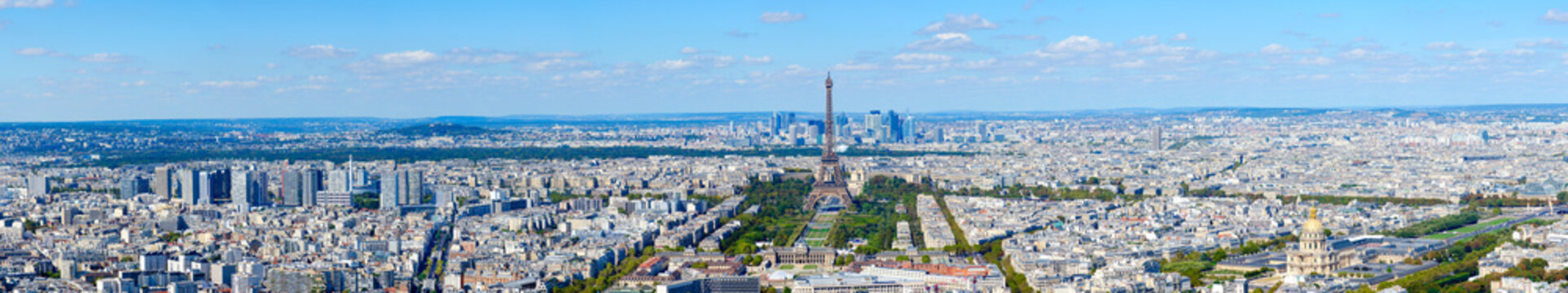 Scenic panoramic view from above on Eiffel Tower, Champ de Mars, Paris, France