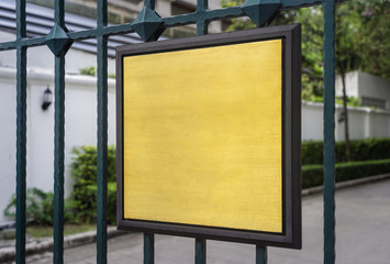 Gold texture and wood Frame on outdoor