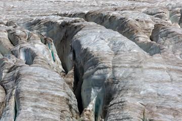 Cracks in the Small Azau glacier on Mount Elbrus.