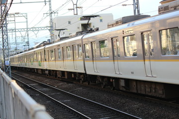 A train running in Japan. Kintetsu train