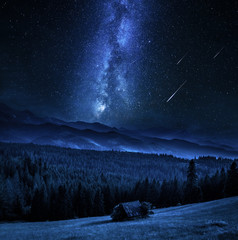 Wall Mural - Milky way over small cottage in Tatra mountains, Poland