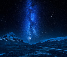 Fototapete - Milky way and falling stars in highlands, Scotland at night