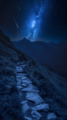 Fototapete - Mountains trail in Tatras at night with falling stars, Poland