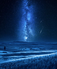 Fototapete - Milky way and falling stars in Tuscany at night, Italy