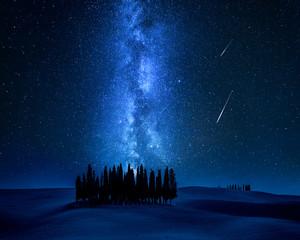 Fototapete - Cypress trees, milky way and falling stars, Tuscany, Italy