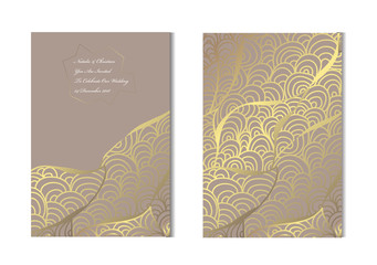 golden floral cards set