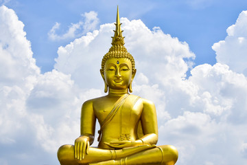 Golden Buddha statue from Thailand on background,symbol of religion buddhism.design with copy space add text