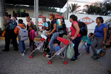 A large group of Hondurans fleeing poverty and violence, move in a caravan toward the United States, in San Pedro Sula