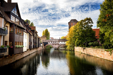 Nuremberg, Hangman's Bridge over the Pegnitz River. Franconia, Germany