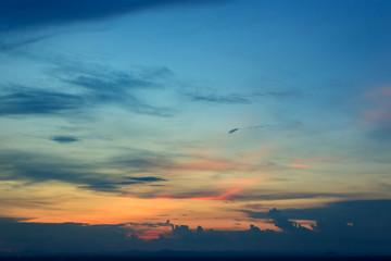 Sunset sky in evening.