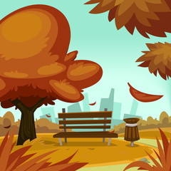 vector cartoon autumn season park illustration with bench tree trash bin and city building silhouette background template
