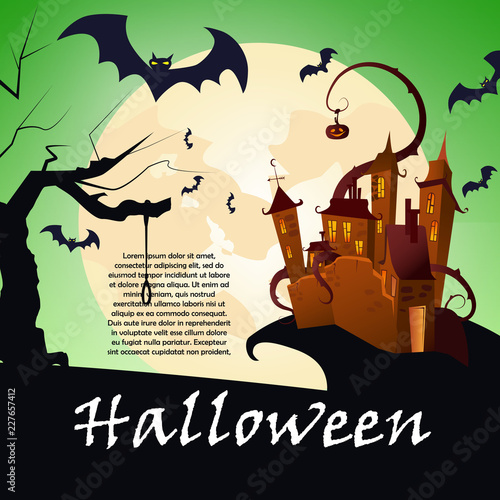 Banner Design With Castle On Hill Creative Lettering Brown Pumpkin Bats Trees And Full Moon Can Be Used For Banners Posters