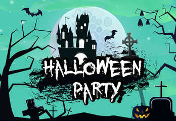 Halloween graffiti lettering on blue background banner design. Creative lettering in gaffiti style with black castle, bats, pumpkin, graves and full moon. Can be used for posters, banners