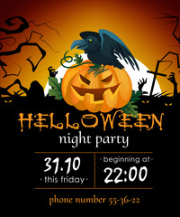 Halloween night party invitation with raven on pumpkin. Party details with raven, orange pumpkin, graves and full moon. Can be used for invitations, banners, posters.