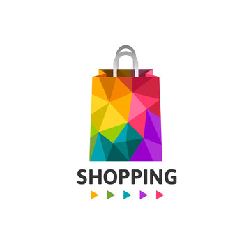 Colorful shopping bag made in low poly design