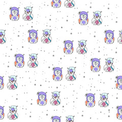 Seamless pattern with cute owls in knitted hats.