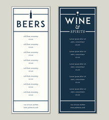 Bar and drinks vector menu template