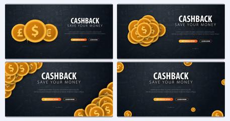 Set of Cashback service. Save your money. Gold coins on the dark doodle background.