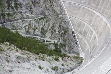 The Cancano Lake Dam in the Valtellina Valley (Sondrio, Valdidentro, Italy)