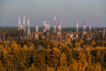 Electric main line, towers