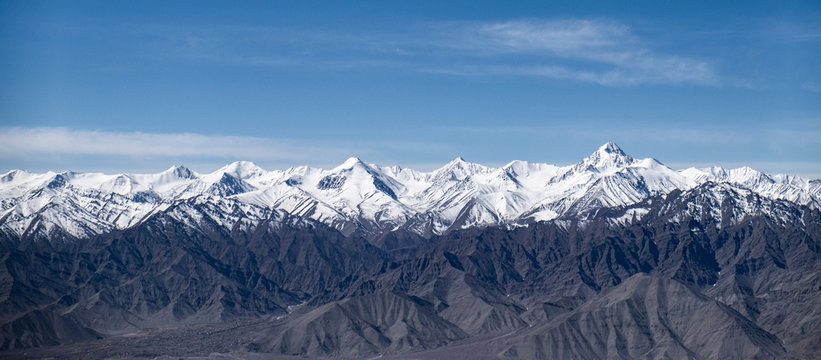 Stok Range of the Himalayas with Stok Kangri,  the highest peak mountain summit in Ladakh, Jammu and Kashmir, India.