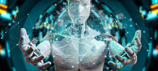 White man cyborg using planet Earth interface 3D rendering