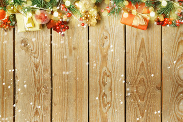 Christmas holiday background decorations and ornaments on wooden table