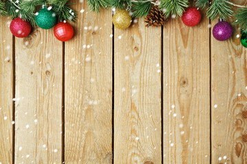 Christmas holiday wooden vintage background with decorations
