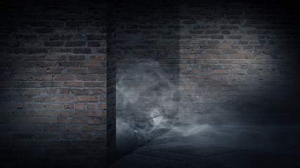 Background of an empty corridor, basement, tunnel with brick, old walls and highlights of light. Brick walls, glow, smoke. Dark gloomy empty background.