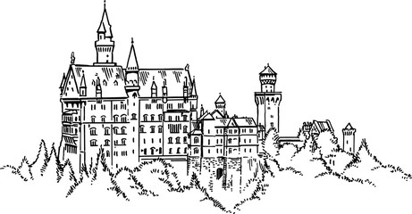 Neuschwanstein Castle Germany vector drawing