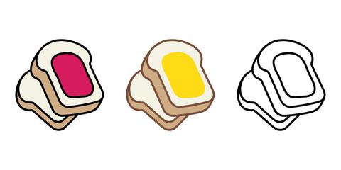 bread vector food bakery bake jam cartoon character illustration