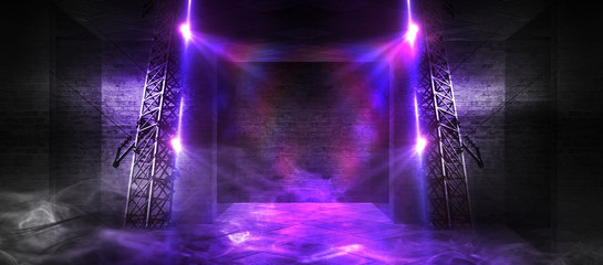 Fotomurales - Background of an empty corridor, basement, tunnel with brick, old walls and neon lights. Brick walls, neon, smoke. Empty background scene, bright