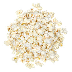 Popcorns pile or heap from above or top view isolated on white background