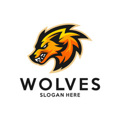 Modern professional Wolf logo for a sport team. Wolf logo vector illustration.