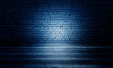 Background of an empty dark room. Empty brick walls, neon light, smoke, glow
