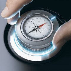 Person using modern compass for professional orientation