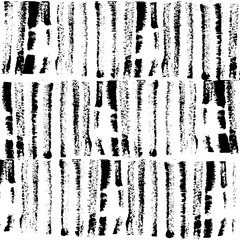 Rows of higly textured vertical black brush strokes seamless texture pattern background.