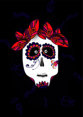 Scary and funny illustration of skull for Halloween and Dia de muerte on black background