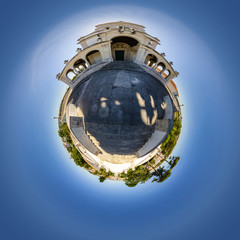 Tiny Planet View of Nossa Senhora da Encarnação Church in Leiria, Portugal
