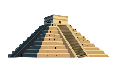 Ancient Mayan pyramid, isolated