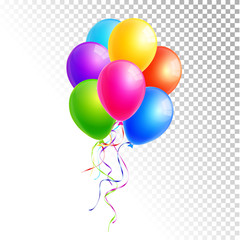 Colorful balloons isolated on white and transparent background vector