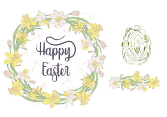 """Happy Easter"" doodle wreath with lettering."
