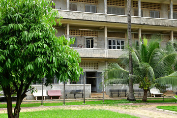 Phnom Penh; Kingdom of Cambodia - august 20 2018 : S 21, Tuol Sleng genocide museum